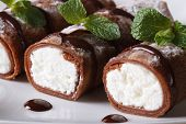 Chocolate Crepes With Ricotta Cheese Macro Horizontal