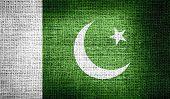 image of pakistani flag  - Grunge of Pakistan flag on burlap fabric - JPG