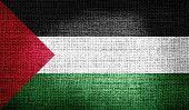 Palestine flag on burlap fabric