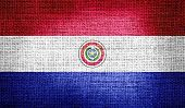 Paraguay flag on burlap fabric