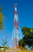Mobile Telecommunication Post With Blue Sky