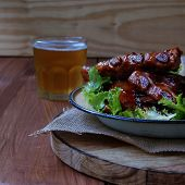 Grilled Pork Ribs With Sauce And Beer