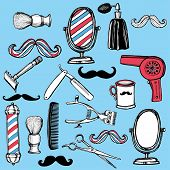 foto of barber razor  - Hand drawn retro barbershop set - JPG