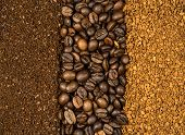 Collage Of Coffee, Milled, Instant And Beans