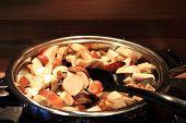 Edible Musrooms Are Prepared As Food