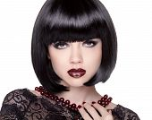 Fashion Brunette Girl Model With Black Bob Hairstyle. Lady Vamp. Woman With Short Hair Isolated On W