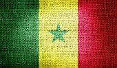 Senegal flag on burlap fabric