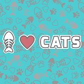 I Love Cats Card. Cute Background With Cat Paw Prints And Hearts