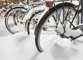 Parked Bikes In Snow