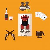 Wild west cowboy flat icons with gun money bag hat isolated vector illustration