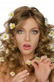 Surprised Beautiful Woman With Daisies In Hair