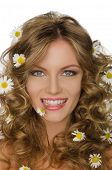 Young Woman With Daisies In Hair And Teeth