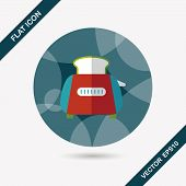 Kitchenware Toaster Flat Icon With Long Shadow