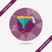 Kitchenware Funnel Flat Icon With Long Shadow,eps10
