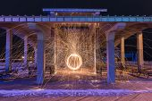 foto of slag  - Showers of hot glowing sparks from spinning steel wool at Coney Island Beach Brooklyn New York - JPG