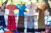 stock photo of dress mannequin  - Collection of fashion dress on mannequin Abstract blur background - JPG