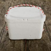 Styrofoam Storage Box On Wood Table