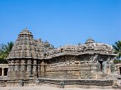 stock photo of karnataka  - The outside of the shrines of Keshava at the 13th Century temple of Somanathapur - JPG