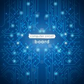foto of processor  - Computer circuit board poster with hardware motherboard processor on blue background vector illustration - JPG