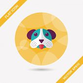 Pet Dog Flat Icon With Long Shadow, Eps10