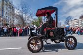 Retro car of 19 century participates in parade