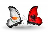 Two Butterflies With Flags On Wings As Symbol Of Relations Cyprus And Albania