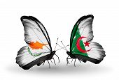 picture of algeria  - Two butterflies with flags on wings as symbol of relations Cyprus and Algeria - JPG