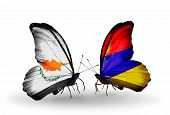 Two Butterflies With Flags On Wings As Symbol Of Relations Cyprus And Armenia