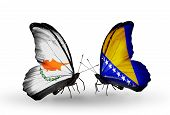 Two Butterflies With Flags On Wings As Symbol Of Relations Cyprus And Bosnia And Herzegovina