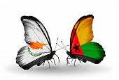 Two Butterflies With Flags On Wings As Symbol Of Relations Cyprus And Guinea Bissau
