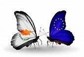 Two Butterflies With Flags On Wings As Symbol Of Relations Cyprus And  European Union
