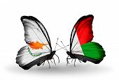 Two Butterflies With Flags On Wings As Symbol Of Relations Cyprus And Madagascar