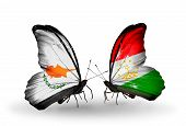 Two Butterflies With Flags On Wings As Symbol Of Relations Cyprus And Tajikistan