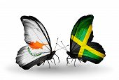 Two Butterflies With Flags On Wings As Symbol Of Relations Cyprus And Jamaica