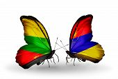 Two Butterflies With Flags On Wings As Symbol Of Relations Lithuania And Armenia