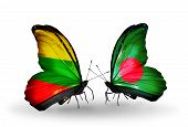 Two Butterflies With Flags On Wings As Symbol Of Relations Lithuania And Bangladesh