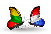 Two Butterflies With Flags On Wings As Symbol Of Relations Lithuania And Luxembourg