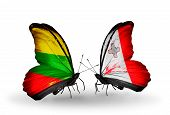 Two Butterflies With Flags On Wings As Symbol Of Relations Lithuania And Malta