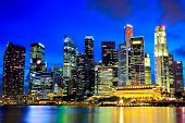 Singapore Skyline. Night view of Singapore. The largest Asian megapolis. A modern office skyscrapers