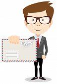Modern postman delivered a letter to you, vector illustration