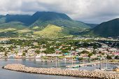 Colorful Buildings Along Harbor On St Kitts