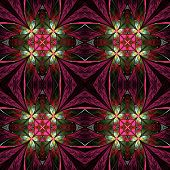 Symmetrical Flower Pattern In Stained-glass Window Style. Green, Yellow And Purple Palette On Black.