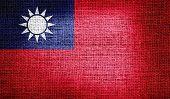 Taiwan flag on burlap fabric