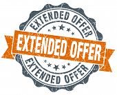 Extended Offer Orange Vintage Seal Isolated On White