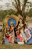 Hindu goddess Saraswati playing Sitar