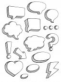speech bubbles sketch style vector set