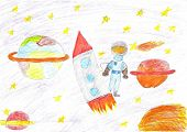 Children Drawing Space Planet Rocket