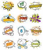 Set of Retro Comic Book Vector Design elements, Speech and Thought Bubbles illustration