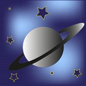 Saturn planet and stars