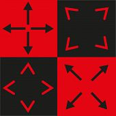 black and red signs